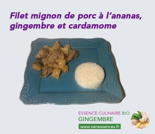 Filet mignon à l'ananas et aux huiles essentielles de gingembre et cardamome