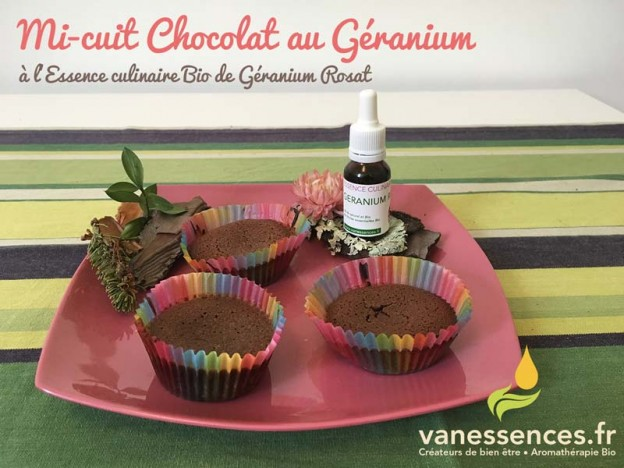 mi-cuit chocolat à l'huile essentielle de géranium rosat