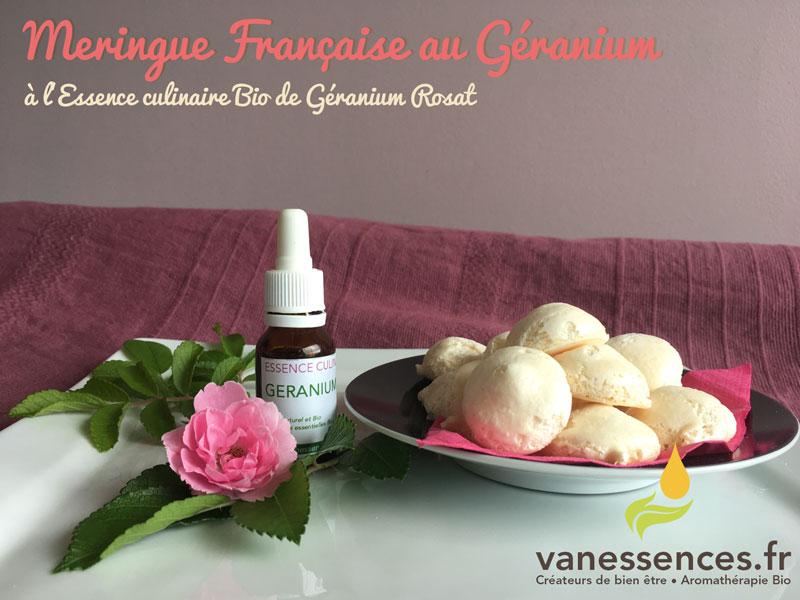 Meringue française à l'huile essentielle de Géranium rosat bio